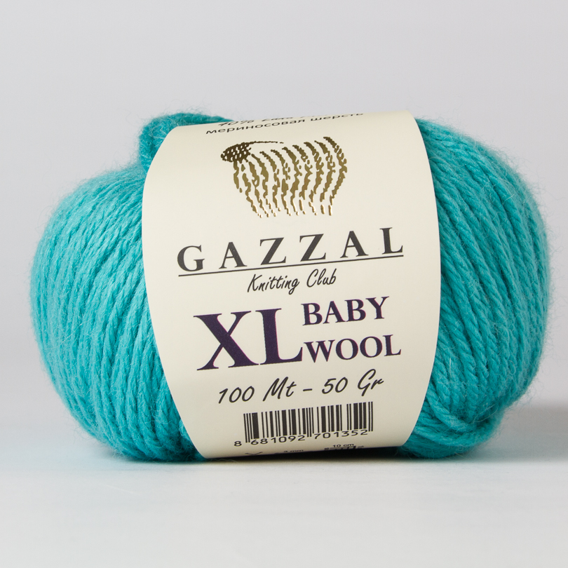 Włóczka BABY WOOL XL Gazzal - kolor 832XL turkus