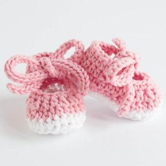 Szydełkowe buciki - Różowy / Biały