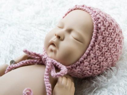 Różowa klasyczna czapeczka bonetka dla noworodka, podwójny ryż